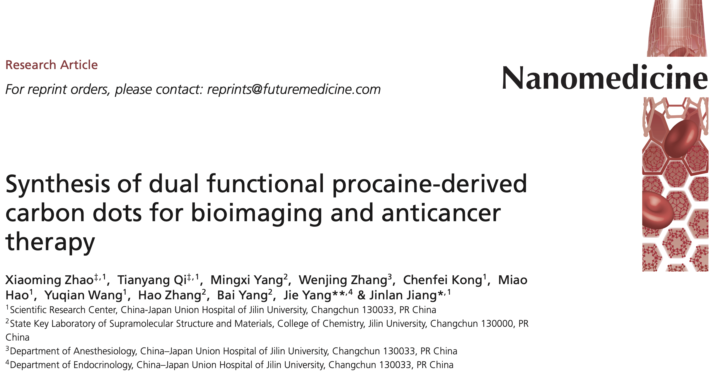 PROCAINE DERIVED CARBON DOTS ANTICANCER ZHAO 2020